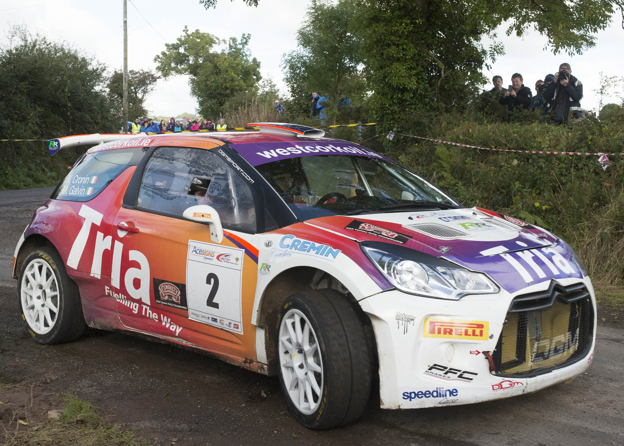 """Ballylickey's Keith Cronin (Citroen DS3R5) and his Killarney co-driver Mikie Galvin clinched the Clonakilty Blackpudding Irish Tarmac Championship with fourth place on the Acesigns Cork """"20"""" International Rally.  Cronin is the first Cork driver to win the Tarmac series since Billy Coleman won 32 years ago.  Photo: Martin Walsh."""