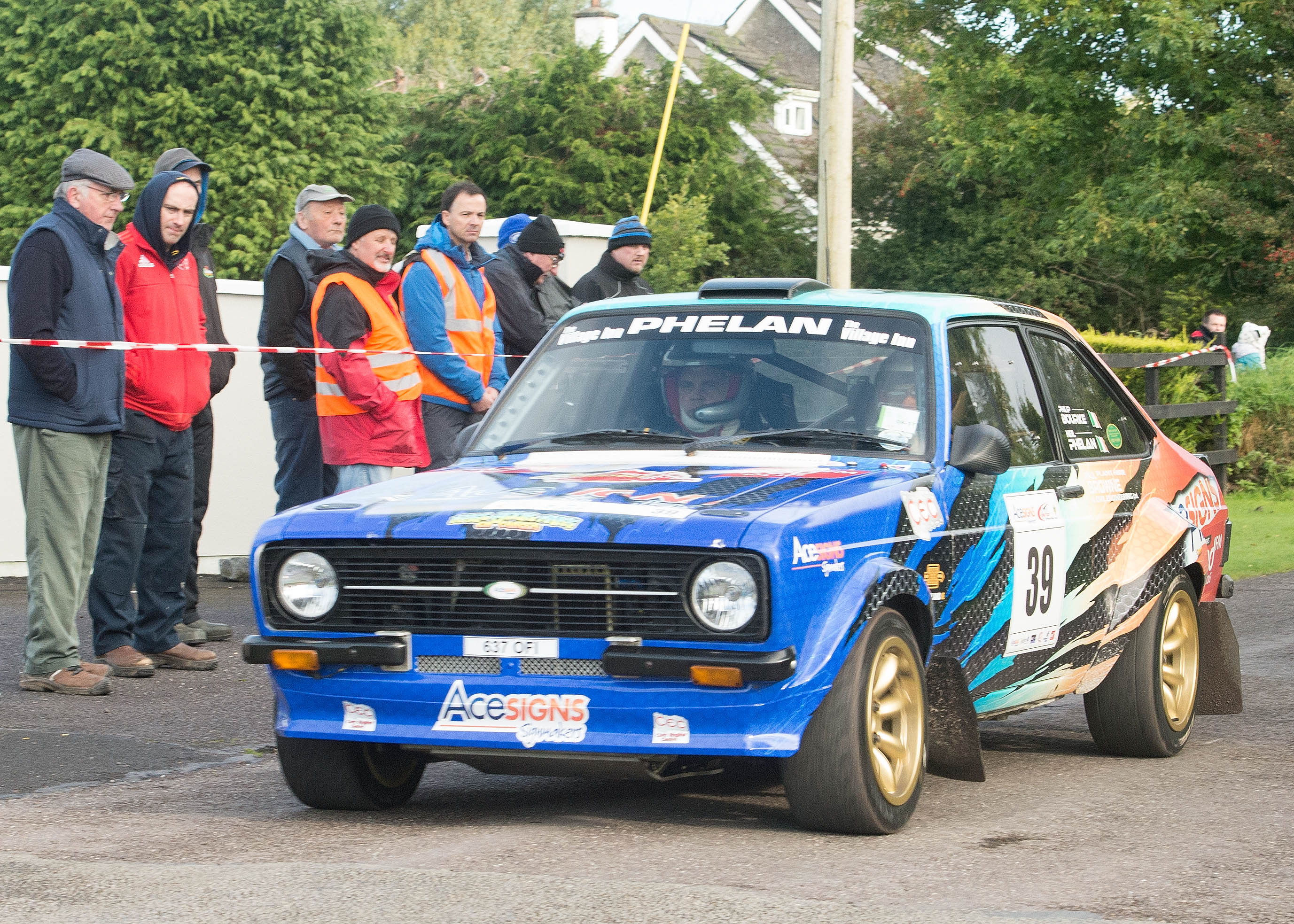 "Cobh's Neil Phelan and Red FM's Philip Bourke (Ford Escort) on last weekend's Acesigns Cork ""20"" International Rally.  Picture: Martin Walsh."